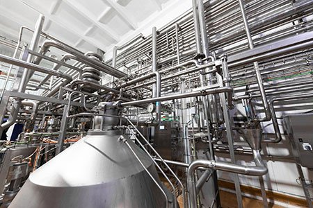 process piping in a brewery